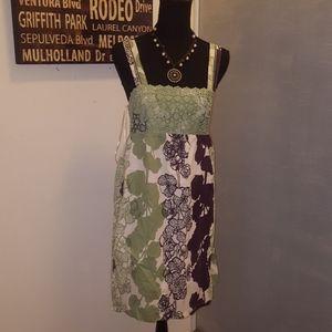 Plum/white/mint green mini sundress